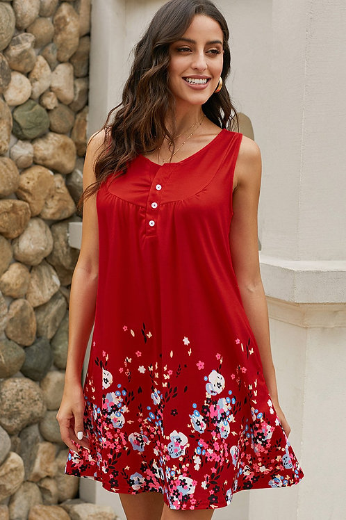 Red Crew Neck A-Line Daily Floral Dress