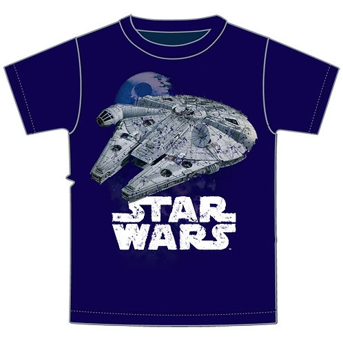 Plus Size Mens Millenium Falcon Star Wars Tee, Navy Blue