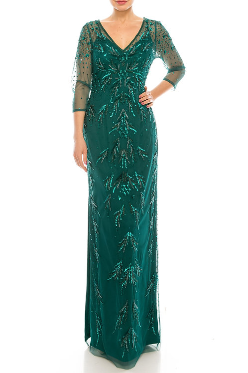 Adrianna Papell Dark Jade Beaded Long Evening Dress