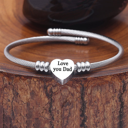 Inspirational Quotes Stainless Steel Heart Charm Bangle - 27 Options