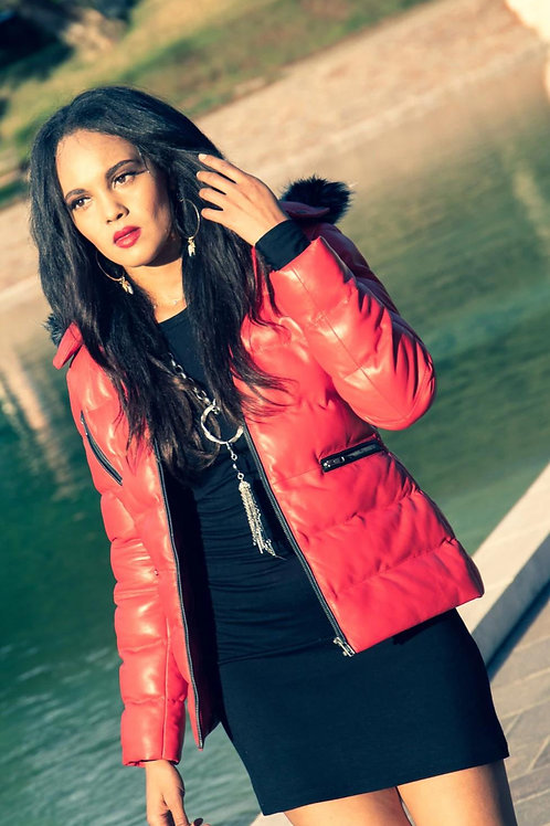 Women's Striking Puffer Arctic Red Down Leather Jacket with Fur