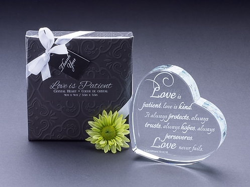 """""""Love Is Patient..."""" Heart Shaped Laser Etched Crystal Gift"""