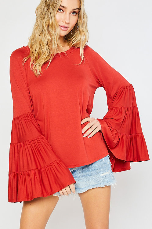 TIERED BELL SLEEVES JERSEY TOP-RUST