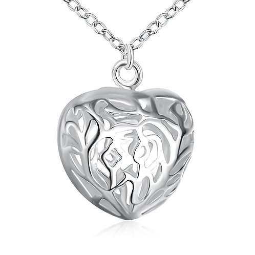 Diamond Cut Heart Necklace in 18K White Gold Plated