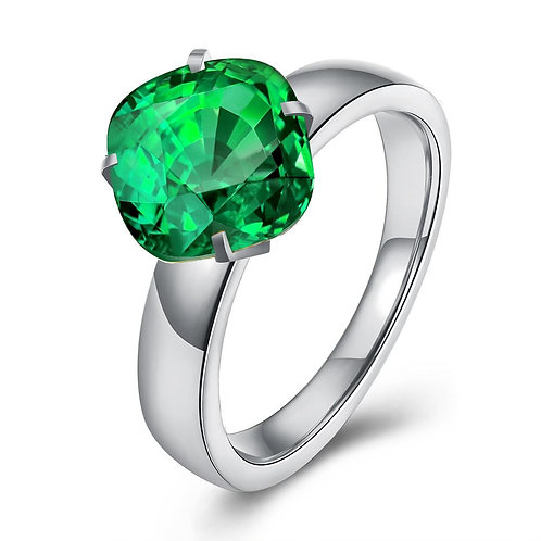18K White Gold Plated Classic Round Green Emerald