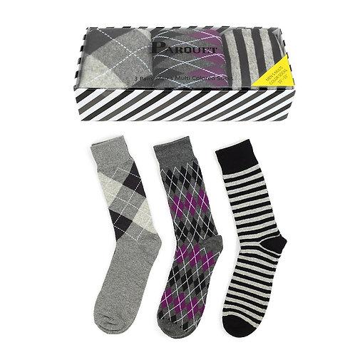 Gray & Purple Dress Socks 3pk