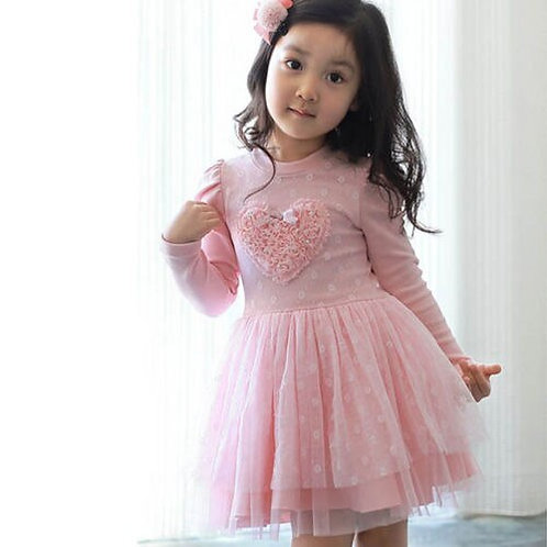 Lovely Girls Long Sleeve Dress Kids Wedding Party