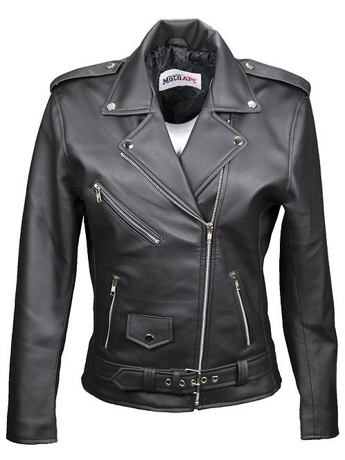 Women's Vegan Moto Style Faux Leather Jacket