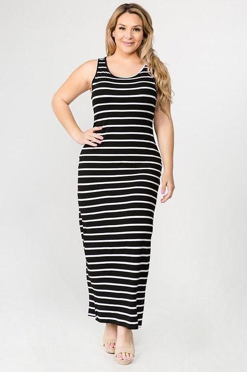 Striped Plus Size Maxi Dress