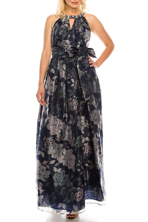 Jessica Howard Navy Floral Printed Organza Long Evening Dress