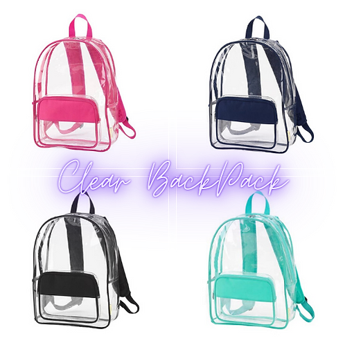 Clear Backpacks All The Rage (Pick Your Color Choice) Great For Sport Events