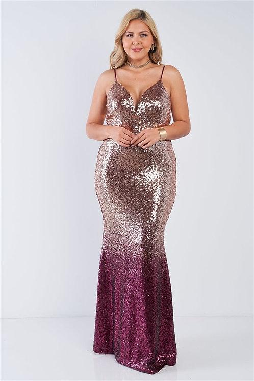 Sequin Ombre Plus Size Maxi Dress