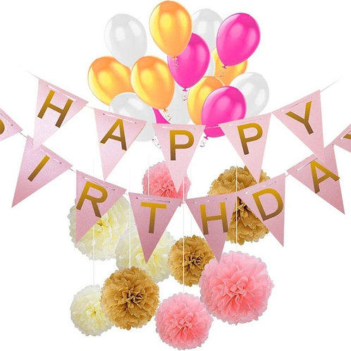 40pcs Set DIY Birthday Party Banner Balloons Paper