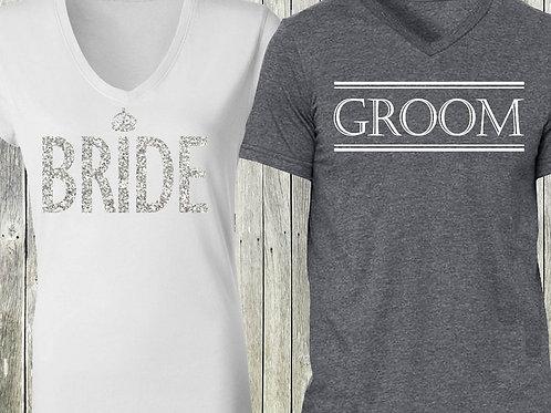 White Bride Shirt + Gray Groom Shirt SPECIAL DEAL