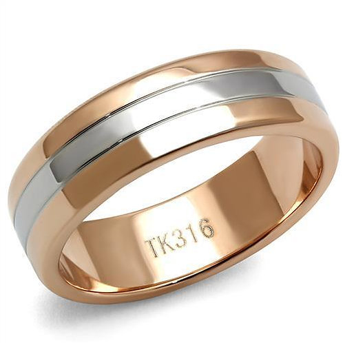 TK2569 Two-Tone IP Rose Gold Stainless Steel Ring