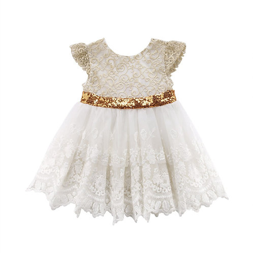 Wedding Backless Beige Girls Dress Toddler