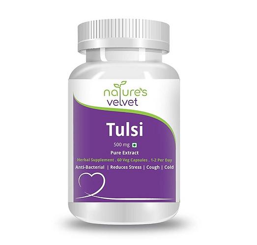 Tulasi Pure Extract 500 mg Capsules (60 Capsules) - Natures Velvet