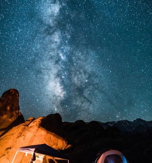 Canyon wall and stars at night