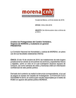 Reportan robo en oficinas de Morena