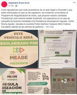 Yulma Rocha se suma a la iniciativa de Meade para la regularización de automóviles