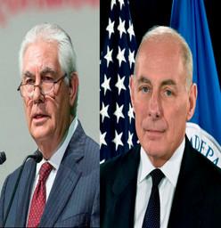 Funcionarios estadounidenses: Tillerson y Kelly, llegan hoy a México