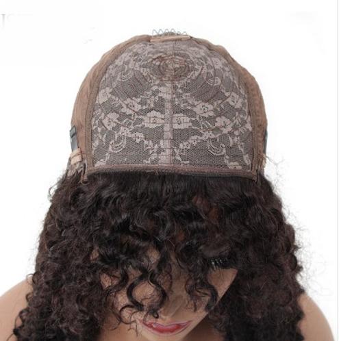 Machine Made Kinky Curly Wig With Bangs