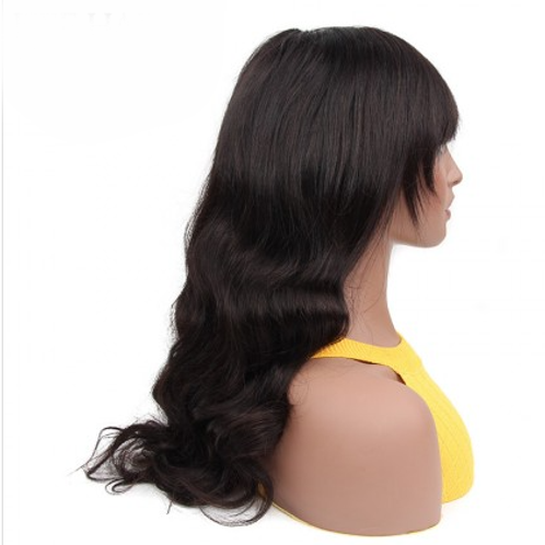 Machine Made Body Wave  Sew In Wig With Bangs