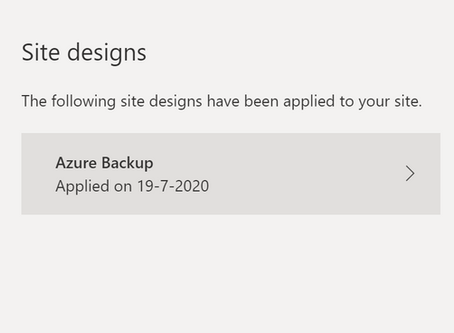 Azure Site Backup using a SharePoint site design