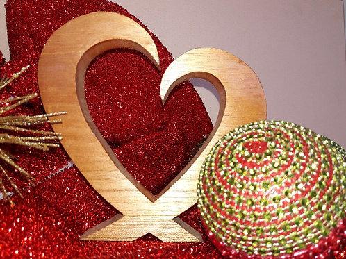 WTW: Open Heart Wooden Ornament