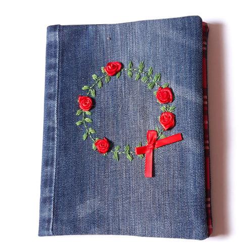 Notizbuch Jeans rot