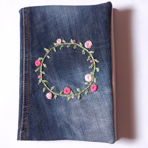 Notizbuch Jeans Kranz rosa