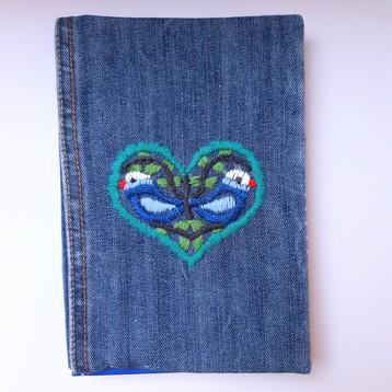 Notizbuch Jeans blaue Stickerei