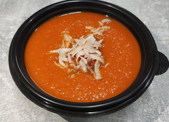 Томатный крем-суп с беконом