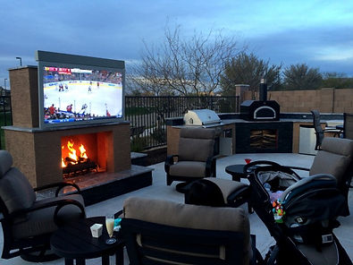 outdoor televison patio fireplace