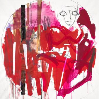 Woman - Red, Mixed media on canvas, 170x160 cm, 2019, Photo: Daniel Hanoch