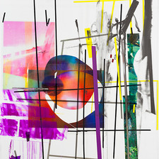 Cosmic in Composition, 2014, acrylic, spray paint, transparencies, wallpaper on Perspex, 290x205