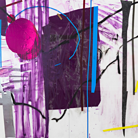 Mirror Rock, Diptych, acrylic, Wallpaper sticker and tape on plexiglass, 164x152cm, 2014
