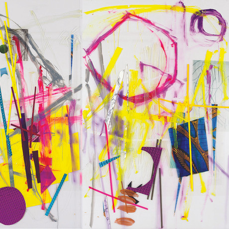 Painting/The Raising, 2014, diptych: acrylic, spray paint, transparencies, wallpaper on Perspex, 290x320cm