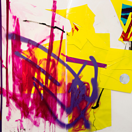 Untitled, Diptych, acrylic, spray paint and tape on plexiglass, 164x152cm, 2013