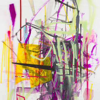 The Monster, 2014, acrylic, spray paint, transparencies, wallpaper on Perspex, 290x205