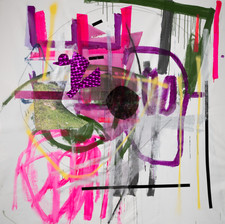 Masque, mixed media on canvas 190x160cm 2019 Photo: Daniel Hanoch