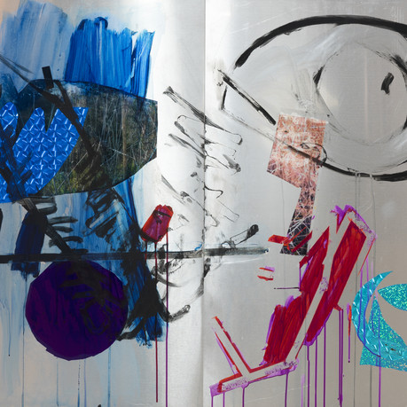 FLAIYING EYE, Diptych, mixed media on Aluminum 135x100cm, 2018