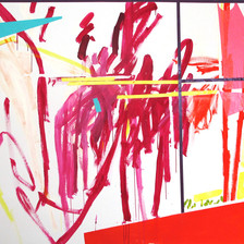 First Act, 2012, acrylic and wall paper on canvas, 185x150 cm