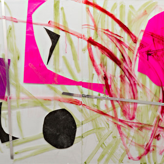Broken Equilibrium, Diptych, acrylic, photogrpah printed on transparency, wallpaper sticker and tape  on plexiglass, 200x120cm 2014