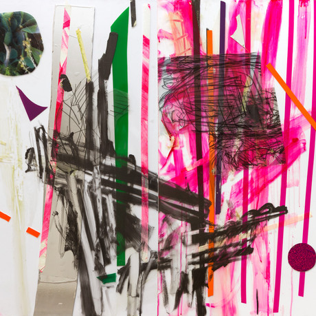 """Continuity"" Diptych,  tape, photograph printed on transparency, drawings printed on transparencies, acrylic and wallpaper sticker on plexiglass 200x120cm 2015"
