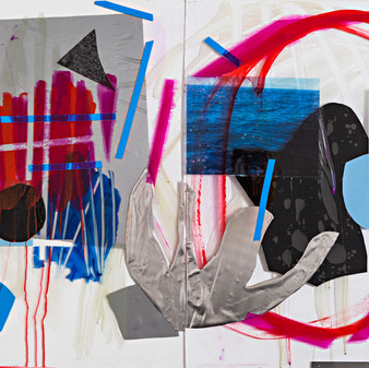 """""""Ischia"""" Diptych, wallpaper sticker, photographs printed on transparencies, acrylic and  tape on plexiglass 160x110cm 2016"""
