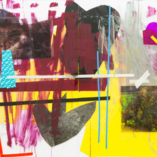 """""""Desert Storm"""" Diptych, wallpaper sticker, photographs printed on transparencies, acrylic and  tape on plexiglass 160x110cm 2016"""