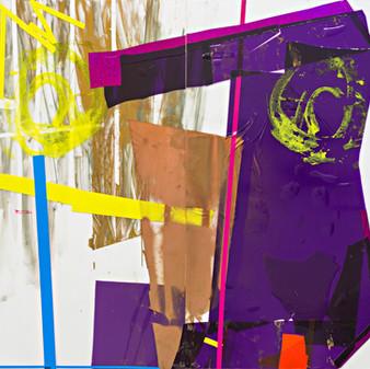Rock, Diptych, acrylic, spray paint and tape on plexiglass, 164x152cm, 2013