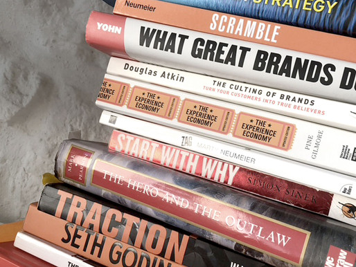 An armful of Brand Strategy books I couldn't do without