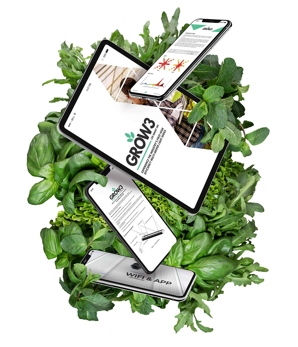 Grow3 images and webpages displayed on phones and tablets with greens behind it